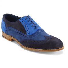 Barker Grant Men's Suede Oxford shoe in Multicolor Blue