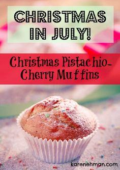 Recipe: Pistachio cherry muffins {Karen Ehman} #EverydayConfetti book | http://www.karenehman.com/2014/07/christmas-in-july-pistachio-cherry-muffins/?utm_content=bufferbcd27&utm_medium=social&utm_source=pinterest.com&utm_campaign=buffer | Christmas in July