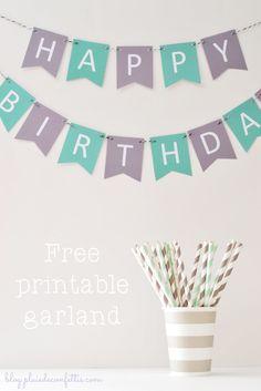 Lovely Happy Birthday free printable garland on blog.pluiedeconfettis.com Adorable guirnalda imprimible gratis a descubrir en nuestro blog!