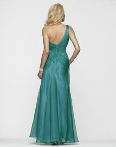 Clarisse 2013 Iridescent Teal One Shoulder Beaded Long Prom Dress with Slit 2153 | Promgirl.net