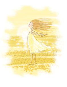 Children's Wall Art Print  - Little Girl in Wind - Illustration for Girl's room decor, Ocean themed nursery