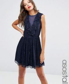 ASOS TALL Ruffle Front Lace Mini Skater Dress - Navy. Tall Clothing and bigger sizes shoes for tall men and tall women at PrettyLong.com
