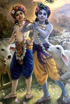 Krishna & Balaram in Vraja Hare Krishna, Krishna Radha, Krishna Lila, Little Krishna, Radha Krishna Pictures, Lord Krishna Images, Hanuman, Iskcon Krishna, Radha Rani