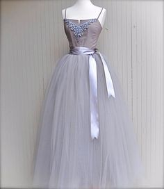 Full length silver grey tulle skirt. Dove grey tulle lined with silver bridal satin for women. Weddings and formal wear.
