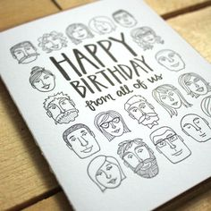 Happy Birthday From All of Us Letterpress Card by 1canoe2 on Etsy, $5.00