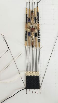 Hand-woven jewelry or Needle weaving jewelry is a hand-woven technique. Standing yarn weave And yarn jumped Combined with colored stone beads as a small hand-woven work Use pinning or pin Embroider on the sheet … - Fiber Art Jewelry, Textile Jewelry, Bead Jewellery, Fabric Jewelry, Jewelry Art, Beaded Jewelry, Bead Loom Bracelets, Woven Bracelets, Handmade Bracelets