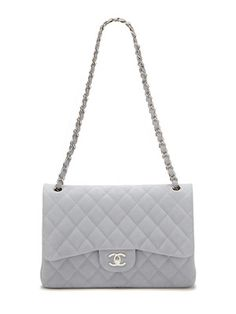 Chanel Light Blue Quilted Caviar Leather Jumbo Classic 2.55 Double Flap Bag
