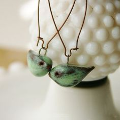 Little Bird Ceramic Earrings Rustic Aqua Mist by BackBayPottery: