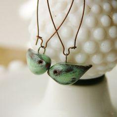 Little Bird Ceramic Earrings Rustic Aqua Mist by BackBayPottery: