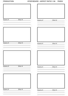 1.85 aspect ratio storyboard template - Google Search