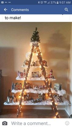 Here's a lovely idea to do if you have an old ladder in the garage! Make a beautiful Christmas village with lights and houses! This was made by Lydia Mendoza. Christmas Love, All Things Christmas, Beautiful Christmas, Winter Christmas, Christmas Wreaths, Christmas Ornaments, Christmas Lights, Christmas Ideas, Snowman Ornaments