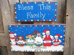 Personalized Christmas Family Plaque by LazyHoundWorkshop on Etsy, $16.00