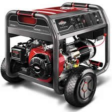 It comes nicely equipped with an electric start Briggs & Stratton engine. Plus, it features an extra large, 7-gallon gas tank, which provides power for up to 9 hours at half load.    The new 30471 also features a single side-mounted control panel with rubber covers protecting the outlets from the elements.    This Briggs & Stratton generator is ideal for the homeowner looking to restore power to the majority of the house, minus the central air conditioner. A great generator.