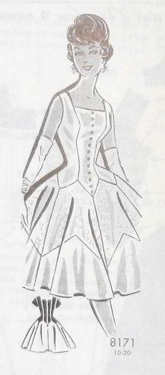 Grit 8171 | Dress 32 50s Buttons Sleeveless Flare Princess Vintage Basque Empire Square Cinderella, Disney Characters, Fictional Characters, Flare, Empire, Buttons, Patterns, Disney Princess, Vintage