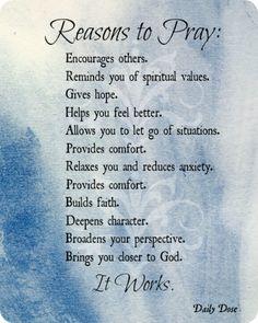Reasons to pray