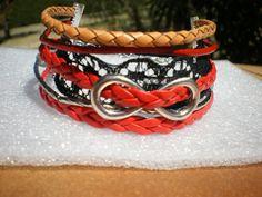 """bracelet cuir rouge, marron avec symbole """"infini"""" argenté et dentelle noire…"""