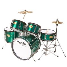 Mendini MJDS-5-GN Complete 16-Inch 5-Piece Green Junior Drum Set with Cymbals, Drumsticks and Adjustable Throne by Mendini. $161.57. Mendini by Cecilio 5-piece junior drum set is a fully functional drum set designed specifically for young drummers. It has all the same features as a full size drum set, only smaller. This set includes bass drum, floor tom, a pair of toms, snare drum, hi-hat, and crash cymbal. Young drummers will get the chance to experience as adult drummers do wit...