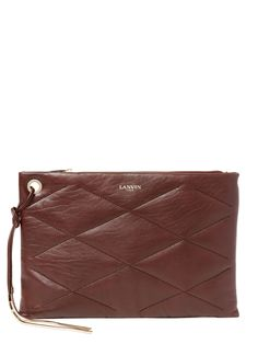 Large quilted leather clutch in Burgundy - Lanvin
