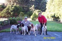 """Joseph & Sue Loewenhardt with their dogs in Honoka'a, Hawai, on 20 December 2001.   Left to right: English Setter """"Sunday"""" (9/29/91–4/25/05), English Setter """"Blackie"""" (9/21/97–7/26/08), English Setter """"Spike"""" (9/29/91–11/5/05), Weimeraner """"Luka"""" (1989-2002), and English Setter """"Star"""" (1986 - 2003)."""