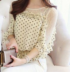 Chic Style Round Collar Lace Splicing Polka Dot Print Chiffon Women's Blouse