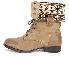 Sharper1 Black Lace Up Military Combat Boot Foldable Convertible Cuff... (52 CAD) ❤ liked on Polyvore featuring shoes, boots, ankle booties, black lace up boots, black lace up booties, taupe booties, black booties and wedge booties