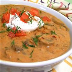 A warm, filling soup that is a wonderful cool weather lunch or dinner and is especially great with a side of multi-grain bread! I load up on thickly cut mushrooms and use traditional Hungarian Sweet … Creamy Mushroom Soup, Mushroom Soup Recipes, Hungarian Mushroom Soup, Multi Grain Bread, Hungarian Recipes, Hungarian Food, Hungarian Cuisine, European Cuisine, Chili Soup