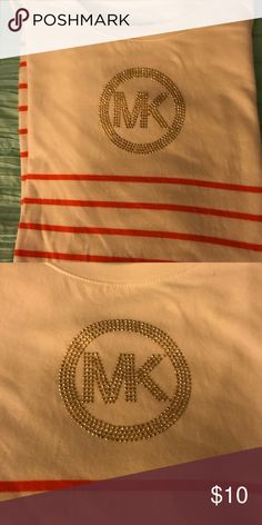 Michael Kors cotton top Michael Kors short sleeve cotton embellished top. Looks great with denim's or shorts! Michael Kors Tops Tees - Short Sleeve