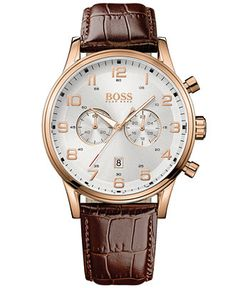 1abbcc8f0 BOSS Hugo Boss Watch, Men's Chronograph Aeroliner Brown Leather Strap 44mm  1512921 & Reviews - Watches - Jewelry & Watches - Macy's