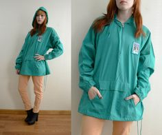 90s Oversize Green Hooded Jacket Water Resistant w/ drawstrings and Front Pouch Hoodie Windbreaker  - by ALPINE // Large XL