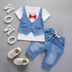 2753352b0 Baby Clothes Set Kids Short Sleeve Gentleman Suit Pants T-shirt Boys Outfits