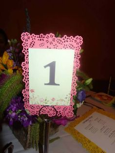 Paper cut table number - Handmade using a punch tool by Martha Stewart crafts