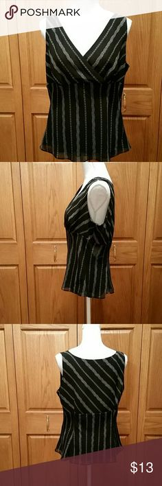 NWOT Ann Taylor LOFT Black & Tan Camisol Type Top 100 % polyester and also fully lined with polyester. Criss-cross front with side zip. Breastline across laying flat measures 18.5 inches and shoulders to bottom measures 23. Shoulders to breastline hem is 12. The armholes are a solid 8. Versitol and a great staple to any wardrobe. LOFT Tops Blouses