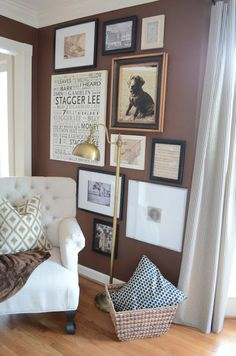 The Houston House blog.  I love this gallery wall, floor to ceiling, and want to do this somewhere in my house!!
