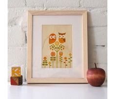 Holzdruck Owl Love Eulenliebe Bild - Petit Collage