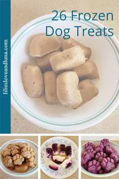 A variety of frozen dog treats to make for your dog. Frozen Dog Treats, Homemade Dog Treats, Dog Treat Recipes, Breakfast, Dogs, Easy, Summer, Morning Coffee, Summer Time