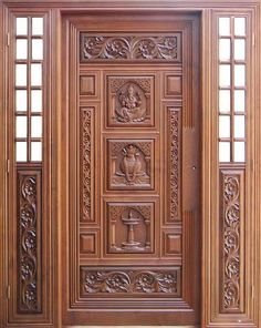 House Front Wall Design, Wooden Front Door Design, Home Door Design, Pooja Room Door Design, Door Gate Design, Door Design Interior, Interior Doors, House Wall, Main Entrance Door Design