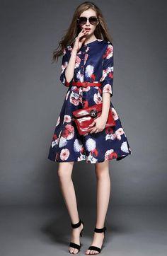 Doresuwe.com SUPPLIES 2015 初秋 新しい大裾プリント七分袖ワンピース デートワンピース (6)