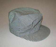 aa98ad4ab13 Old Vtg 1950 s Kaint Shrink Hickory Stripe Denim Engineer Cap Mens Mans Hat
