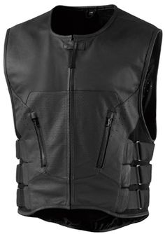 Icon Regulator Leather Motorcycle Vest - Stripped