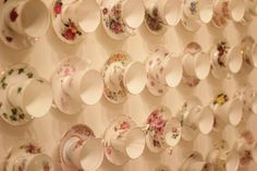 Vintage tea cups and saucers wall feature, leading to our home basement #180Piccadilly