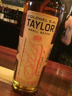 Colonel E. H. Taylor small batch. 100 Proof. No age statement. There's flavor there but if you ponder more than a second, the heat then burns the first layer of buds off your tongue. Holy hot, Batman.