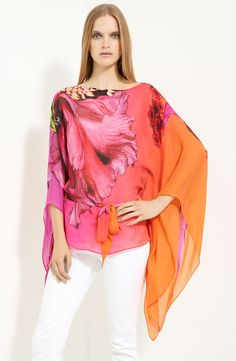trend floralroberto cavalli floral print chiffon caftan
