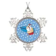 santa surfing ceramic ornament * See this great product.