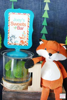 | Cute As A Fox Party GIVEAWAY | http://soiree-eventdesign.com - wooden number 1 & little fox
