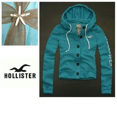 Hollister Button Up Hoodie Pre-loved Hollister Button Up Hoodie. The drawstring and 3 buttons are missing. Other than that it is in good condition. Hollister Tops Sweatshirts & Hoodies