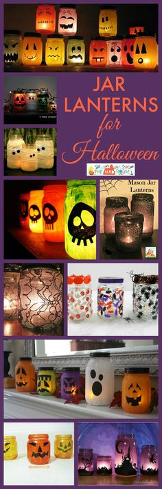 Light up Halloween with these simple jar lanterns.  These glass luminaries are so effective and easy to make.  A perfect kids craft.