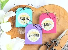 Cross Stitch Alpha Tags by Michelle Short for Hero Arts Personalized Tags, Hero Arts, Silhouette Projects, Clear Stamps, Art Blog, Cross Stitching, Twine, Flower Designs, Biodegradable Products