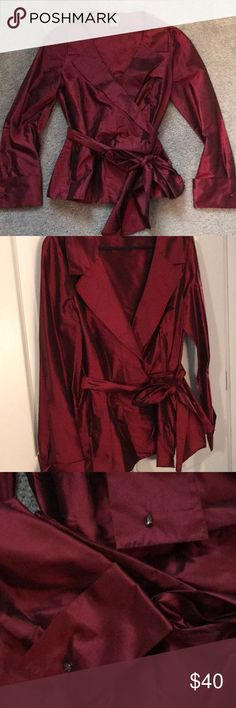 Holiday blouse! Ann Taylor holiday rich wine  colored blouse. Covered button side fastening and lovely big waist sash.  Shiny deep colored wine 100% silk blouse. Stunning find! Ann Taylor Tops Blouses