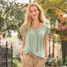 "SLICE OF LIFE TOP -- Our exclusive top will serve you splendidly as a trusted wardrobe staple. Forgiving silhouette still shapes subtly. Gathered neckline detail. Linen. Hand wash. Imported. Sizes XS (2), S (4 to 6), M (8 to 10), L (12 to 14), XL (16). Approx. 25-3/4""L."