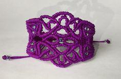 Purple Macrame Beaded Bracelet by PrettyKnotsnBeads on Etsy Macrame Earrings, Macrame Bag, Macrame Knots, Micro Macrame, Macrame Jewelry, Macrame Bracelets, Handmade Bracelets, Diy Jewelry, Crochet Earrings